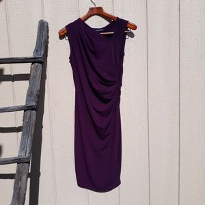 Sleeveless dress purple side ruching PattyBoutik S
